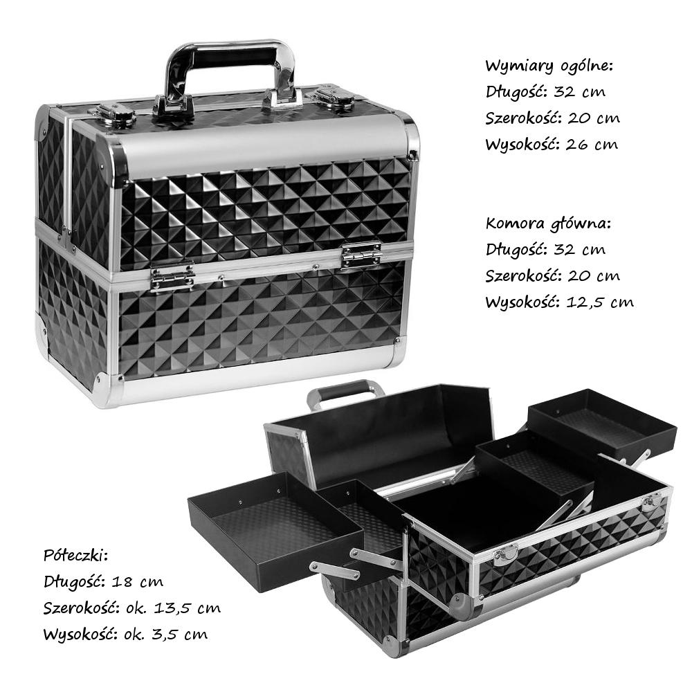 8db27cb3023d5 KUFEREK KOSMETYCZNY Aluminiowy DIAMONDS 3D CZARNY Pikowany